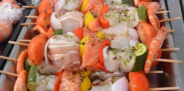 Brochettes de poisson ou St-Jacques